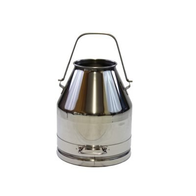 Melasty, stainless steel milk can 25 Lt/6.60 Gal. Handle around the body and heavy side handle.