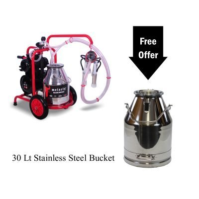 Melasty Single Cow Milking Machine Portable Electric 8 Gal Bucket With Maintenance Kit and 30 Lt Stainless Steel Bucket Included! TK1-PS