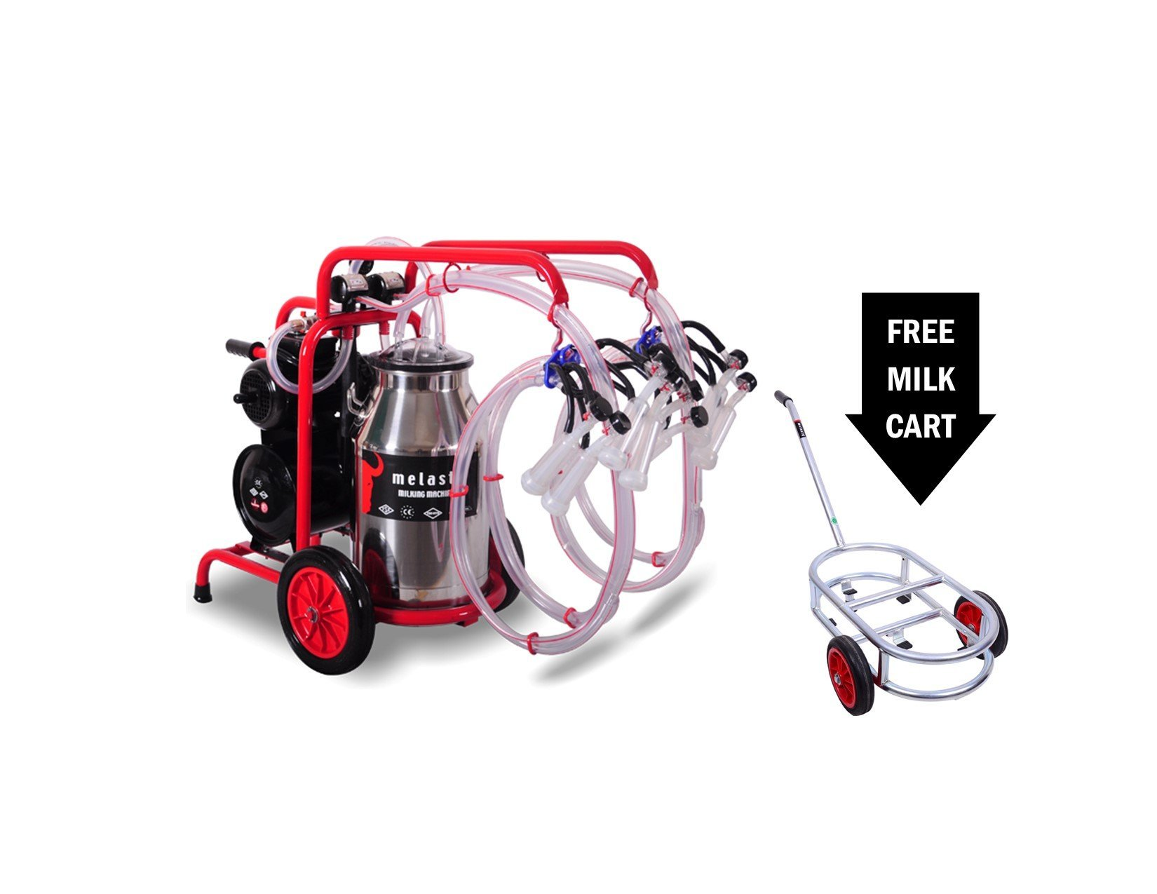 Melasty, Quadruple Milking Machine for Goats with Maintenance Kit and Trolley Included! TKKC4-PS