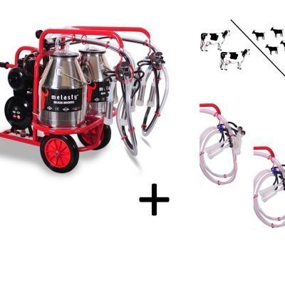 2 cow / 4 goat milking machine twin bucket hybrid standard
